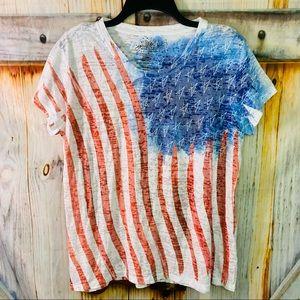 EUC Green Source Stretchy Lightweight American Flag Short Sleeve T-Shirt XL